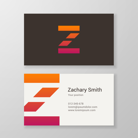letter a z: Design icon letter Z stripes business card template. Layered, editable.