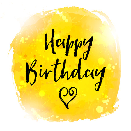 Happy Birthday hand paint watercolor brushed greeting card. Vector illustration. Vectores
