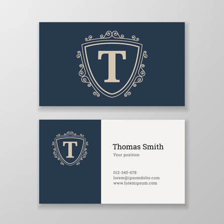 editable sign: Business card monogram emblem letter T template design. Ornament design vector illustration. Good for personal sign Illustration