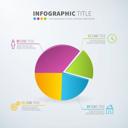 pie: Business infographic pie chart statistics with icons for reports and presentations. Vector illustration. Illustration