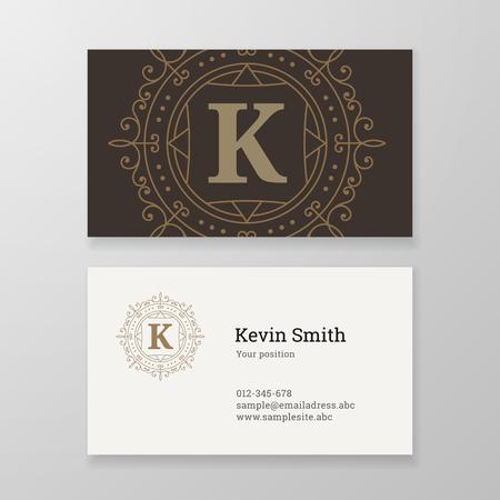 herald: Business card monogram emblem letter K template design. Ornament design vector illustration. Good for personal sign