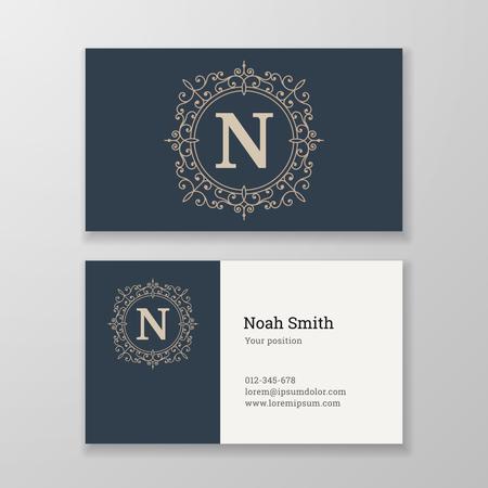 herald: Business card monogram emblem letter N template design. Ornament design vector illustration. Good for personal sign
