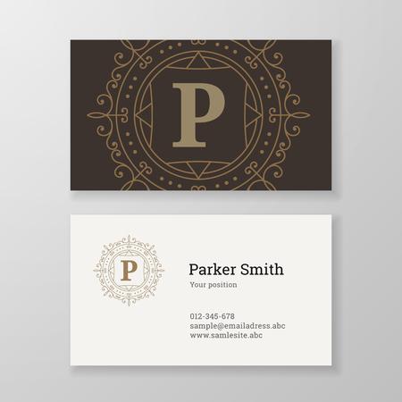 herald: Business card monogram emblem letter P template design. Ornament design vector illustration. Good for personal sign