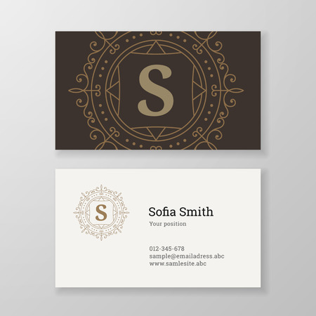 good s: Business card monogram emblem letter S template design. Ornament design vector illustration. Good for personal sign