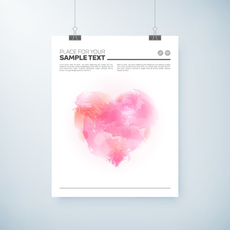 poster abstract watercolor design with heart, paper clips and shadow. vector editable illustration.