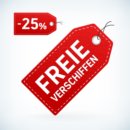 low prizes: Red leather label freie verschiffen editable vector illustration