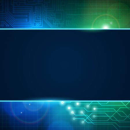 electronic scheme: Abstract circuit board vector background with empty space for text. Processor and chip, engineering, motherboard and computer design, vector editable illustration.
