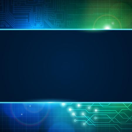 esquema: placa de circuito de vectores de fondo abstracto con el espacio vacío para el texto. Procesador y el chip, la ingeniería, la placa base y el equipo de diseño, ilustración vectorial editable. Vectores