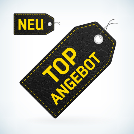 leather label: black leather label with yellow text new and top offer editable vector illustration