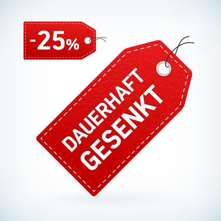 leather label: Red leather label dauerhaft gesenkt editable vector illustration