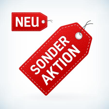 leather label: Red leather label neu and sonderaktion editable vector illustration