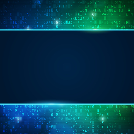 computer code: Technology computer digital data code background with place for text. Blue and green vector illustration. Illustration