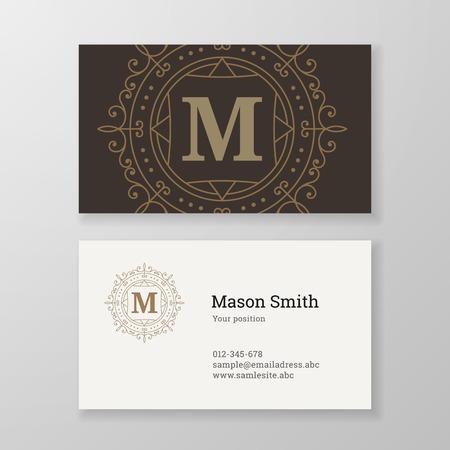 herald: Business card monogram emblem letter M template design. Ornament design vector illustration. Good for personal sign
