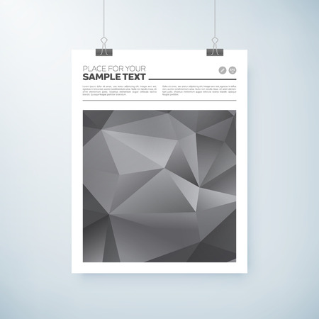 paper clips: poster abstract triangle shape design with place for text, paper clips and shadow. vector editable illustration. Illustration