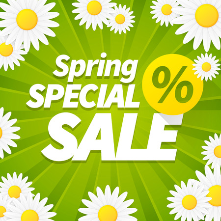 big daisy: Seasonal special spring sale business background with daisy flower. editable.