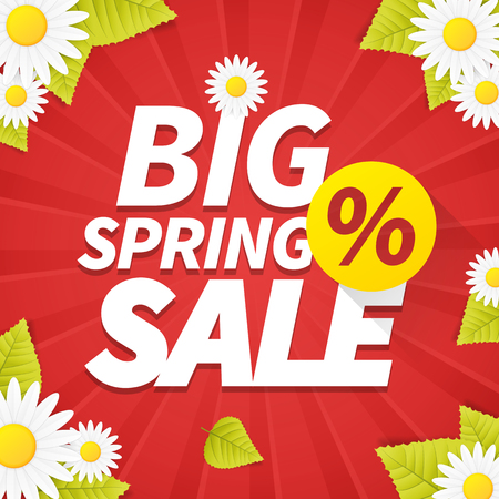 golden daisy: Seasonal big spring sale business background with daisy flower and leaf. editable.