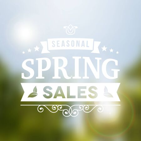 heading: Seasonal spring sale business advertisement sign on blurred holidays background. editable. vector. poster.