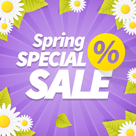 violet: Seasonal spring special sale business violet background with daisy flower and leafs. Editable poster with promotion sale text. Advertisement vector with spring sale message discount.