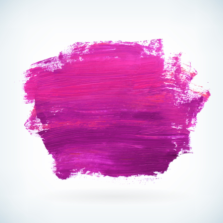 Violet paint artistic dry brush stroke. Watercolor acrylic hand painted backdrop for print, web design and banners. Realistic vector background texture