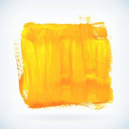 Gele verf artistieke droge borstel beroerte. Waterverf het plein acryl hand beschilderde achtergrond voor print, web design en banners. Realistische vector achtergrond textuur