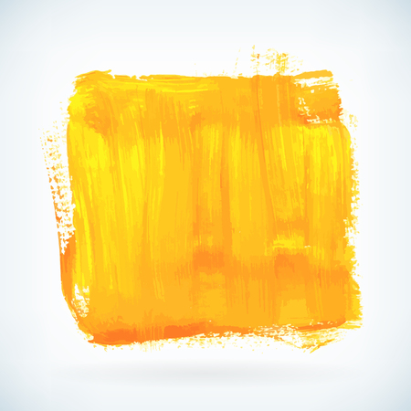 Yellow paint artistic dry brush stroke. Watercolor square acrylic hand painted backdrop for print, web design and banners. Realistic vector background texture