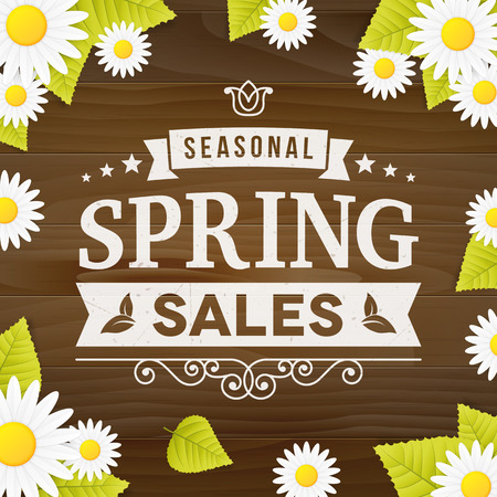 spring leaf: Seasonal spring sale business advertisement sign on wood plank  background with daisy flower and leaf. editable. vector. poster. Illustration
