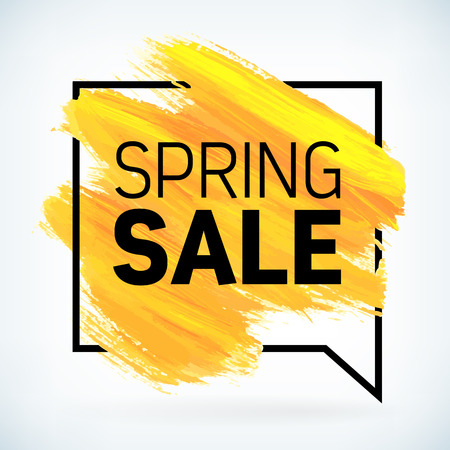 Yellow hand paint artistic dry brush stroke with business text in speech bubble. Watercolor acrylic spring sale begins background for print, web design and banners. Realistic vector texture. Illustration