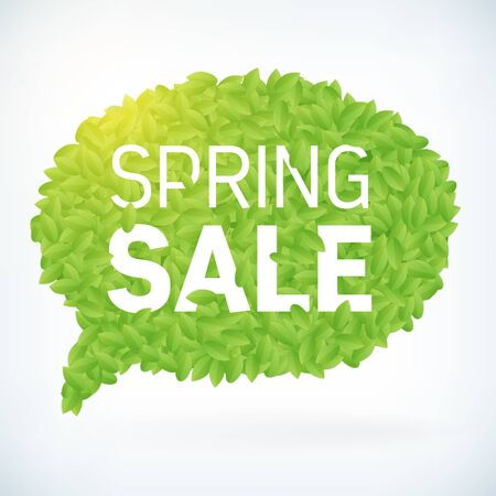 spring sale: Seasonal fresh spring sale business advertisement text on leafs speech bubble background. editable spring sale vector. Illustration