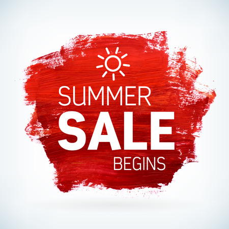 watercolor brush: Red paint artistic dry brush stroke with business text. Watercolor acrylic summer sale begins background for print, web design and banners. Realistic vector texture.