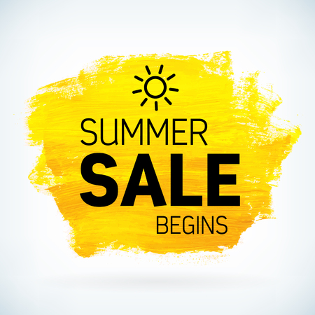 Yellow hand paint artistic dry brush stroke with business text. Watercolor acrylic summer sale begins background for print, web design and banners. Realistic vector texture.
