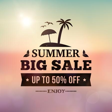 Summer grote verkoop bedrijf reclame bord op onscherpe vakanties achtergrond. bewerkbare vector zakelijke zomer verkoop poster.