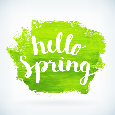 phrase: Hello spring phrase hand paint watercolor brushed poster background. Vector illustration.