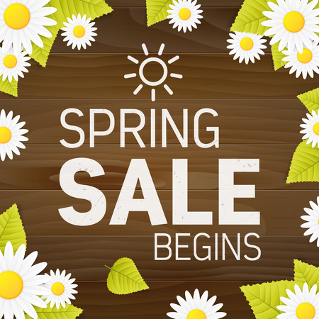Seasonal spring sale begins business advertisement sign on wood plank  background with daisy flower and leaf.