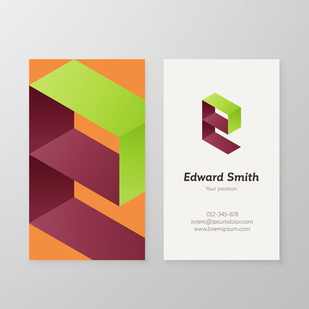 e card: Business card isometric  letter E vector template. Vector business card personal  sign graphic design. Illustration