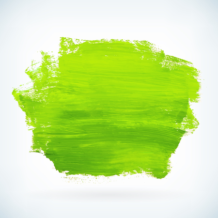Green hand paint artistic dry brush stroke. Watercolor acrylic hand painted backdrop for print, web design and banners. Realistic vector background texture Stock Illustratie