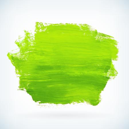 Groen hand verf artistieke droge borstel beroerte. Waterverf het acryl hand beschilderde achtergrond voor print, web design en banners. Realistische vector achtergrond textuur Stock Illustratie