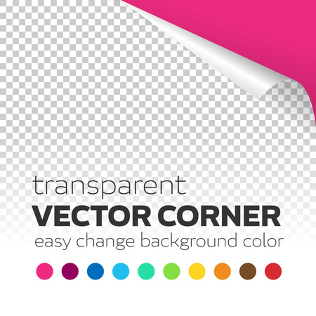 page curl: Transparent paper page curl vector corner with colored background. Easy change corner curl color background. Editable vector transparent curl corner with shadow.