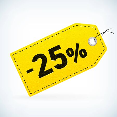 sale off: Yellow leather business sale -25% vector label. Business sale off detailed label. Isolated from background. Editable sale tag.