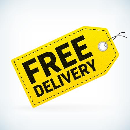 sale label livraison gratuite d'affaires en cuir jaune. vecteur affaires étiquette de vente avec livraison gratuite de texte détaillé. Isolé de fond. étiquette d'affaires éditable.