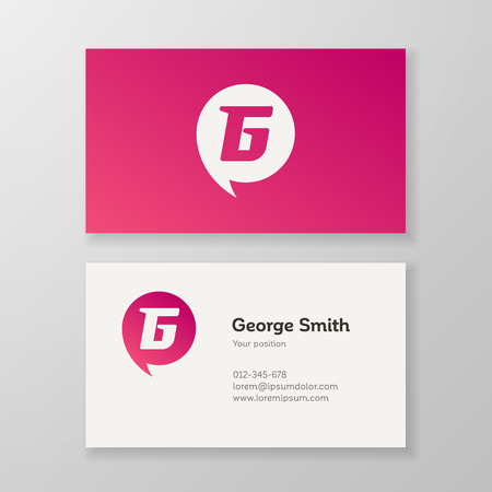layered: Modern letter G in speech bubble Business card template. Vector visiting card design. Layered, editable. Illustration