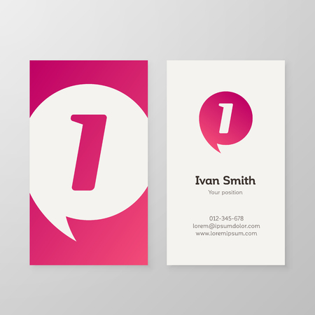 Modern letter I in speech bubble Business card template. Vector business personal card design. Layered, editable.