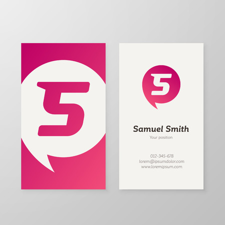 Modern letter S in speech bubble Business card template. Vector business personal card design. Layered, editable.