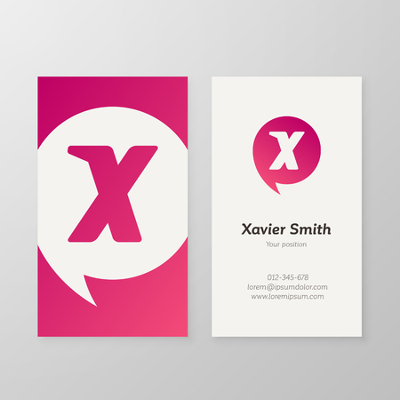 layered: Modern letter X in speech bubble Business card template. Vector business personal card design. Layered, editable.