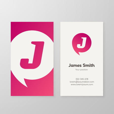 business card design: Modern letter J in speech bubble Business card template. Vector business personal card design. Layered, editable.