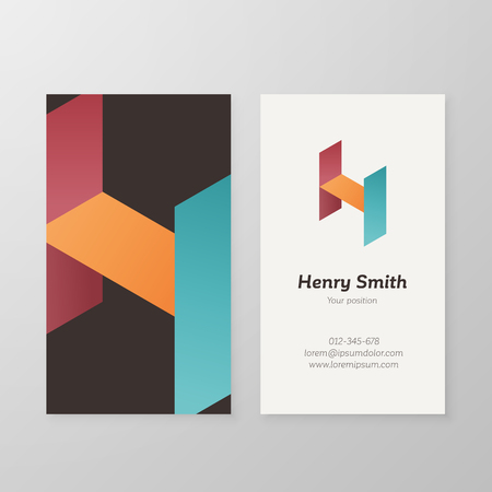 Business card isometric letter H vector template. Vector business card design as sign letter H. Letter H business card template. Business card visual design letter H.