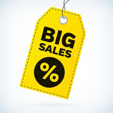 Geel leer zakelijke label grote verkoop. Zakelijke vector gedetailleerde label met de tekst grote verkoop en procent icoon. Grote verkoop vector label. Grote verkoop zakelijke label. Lederen vector zakelijke label.