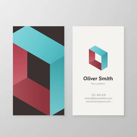 business card design: Business card isometric letter O vector template. Vector business card design as sign letter O. Letter O business card template. Business card visual design letter O.