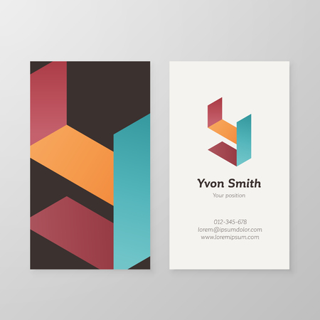 namecard: Business card with isometric letter Y template. Vector business card editable design. Illustration