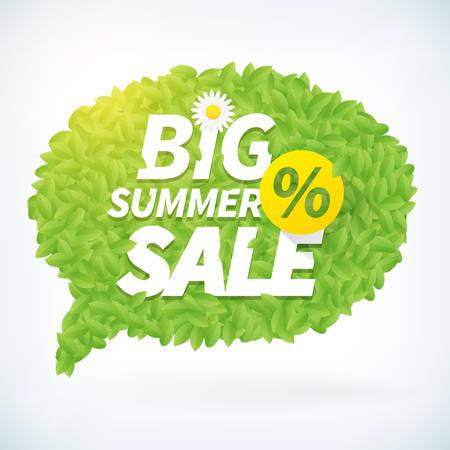 big leafs: Seasonal big summer sale business  advertisement text on leafs speech bubble background. Editable vector icon.