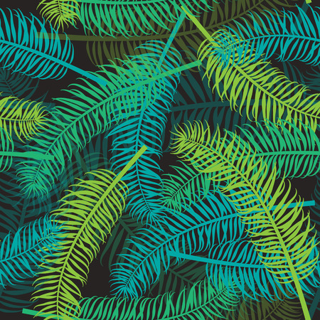 Seamless palm leaf pattern on dark background. Tropical leaves vector backdrop for print or website.